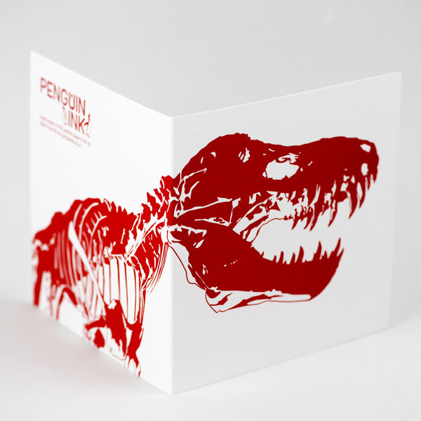 Penguin Letterpress Card 'T-Rex' (3 Colours) - HUEBOW