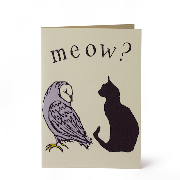 Cambridge Imprint Owl And Pussycar Card - HUEBOW