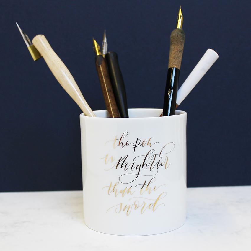 "Imogen Owen Pen Pot ""The Pen Is Mightier Than The Sword"" - HUEBOW"