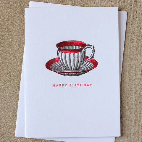 Sesame Letterpress Teacup Birthday Card