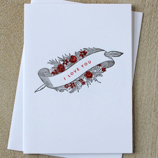 Sesame Letterpress Card 'I Love You' - HUEBOW
