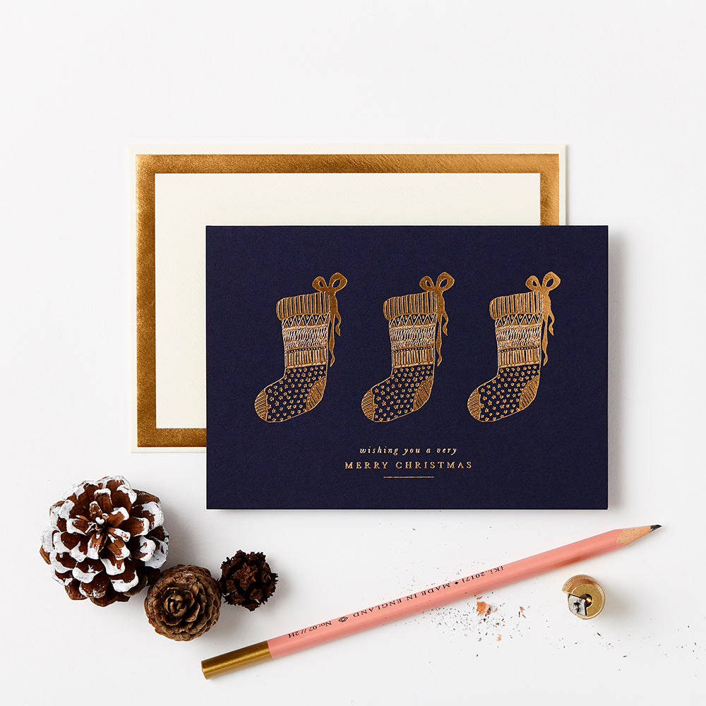 Katie Leamon Gold Stockings Christmas Card