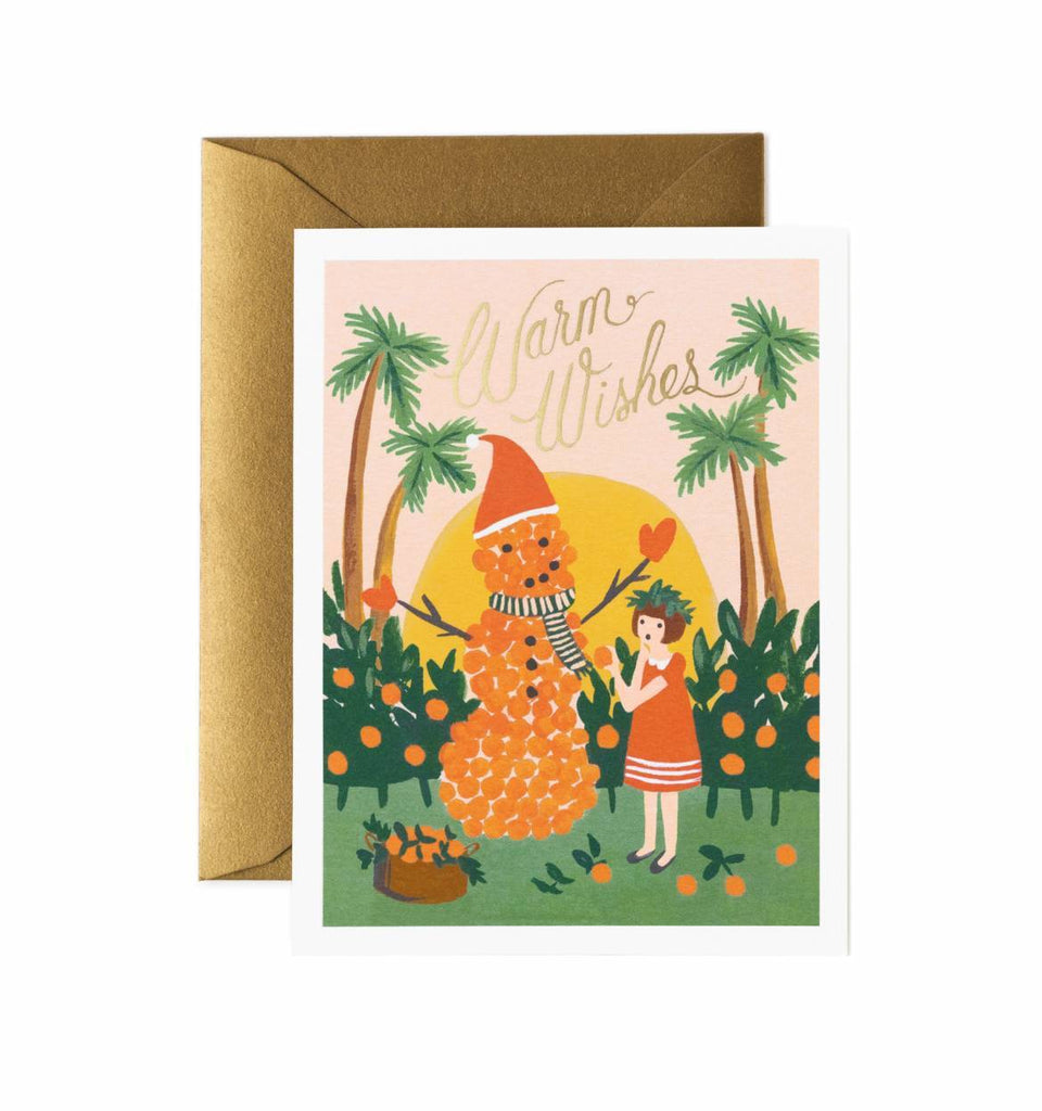 Rifle Paper Co. Warm Wishes Snowman Christmas Card - HUEBOW