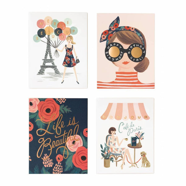 Rifle Paper Co. Parisian Foil Boxed Set Of 8 Cards - HUEBOW