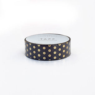 Bespoke Letterpress Hot Foil Printed Washi Tape Black & Gold Dots - HUEBOW