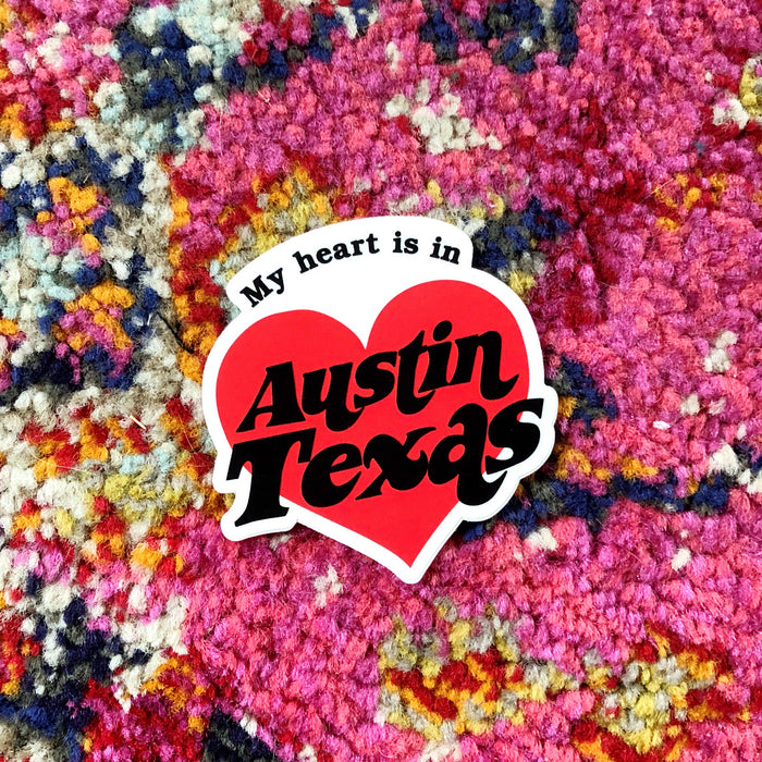 MY HEART IS IN AUSTIN STICKER Red