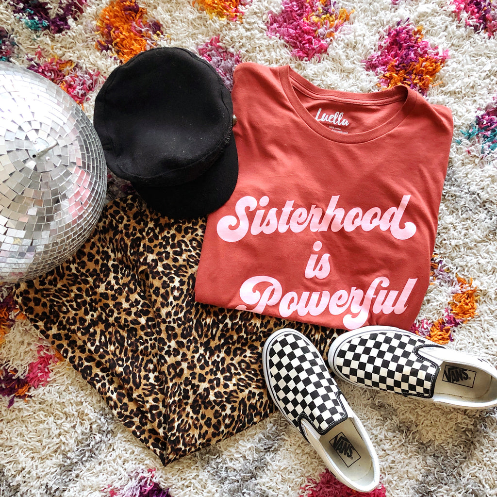 Sisterhood is Powerful Rust Tee