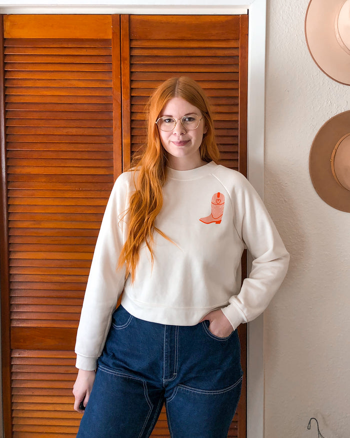 Cowboy Boot Cropped Sweatshirt