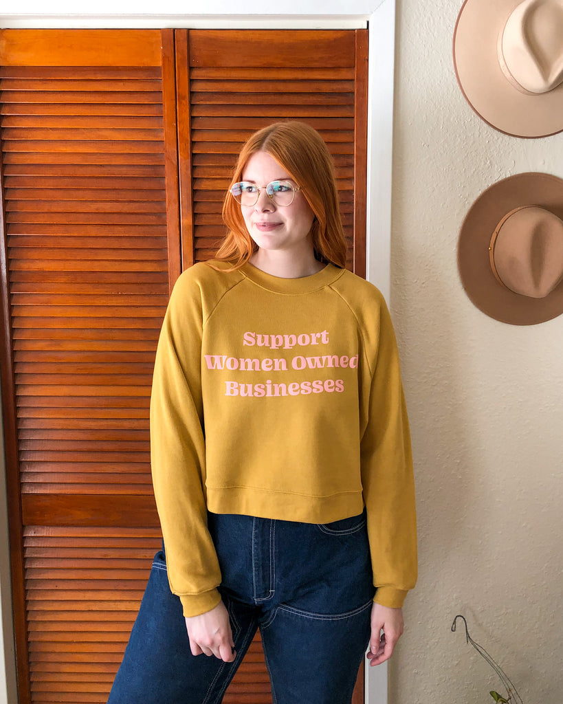 Support Women Owned Businesses Cropped Yellow Sweatshirt