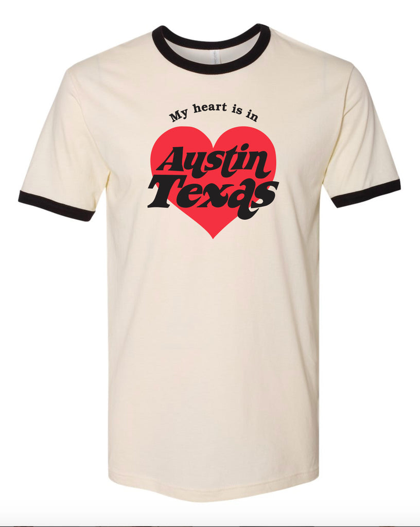 My Heart is in Austin, Texas Ringer Tee