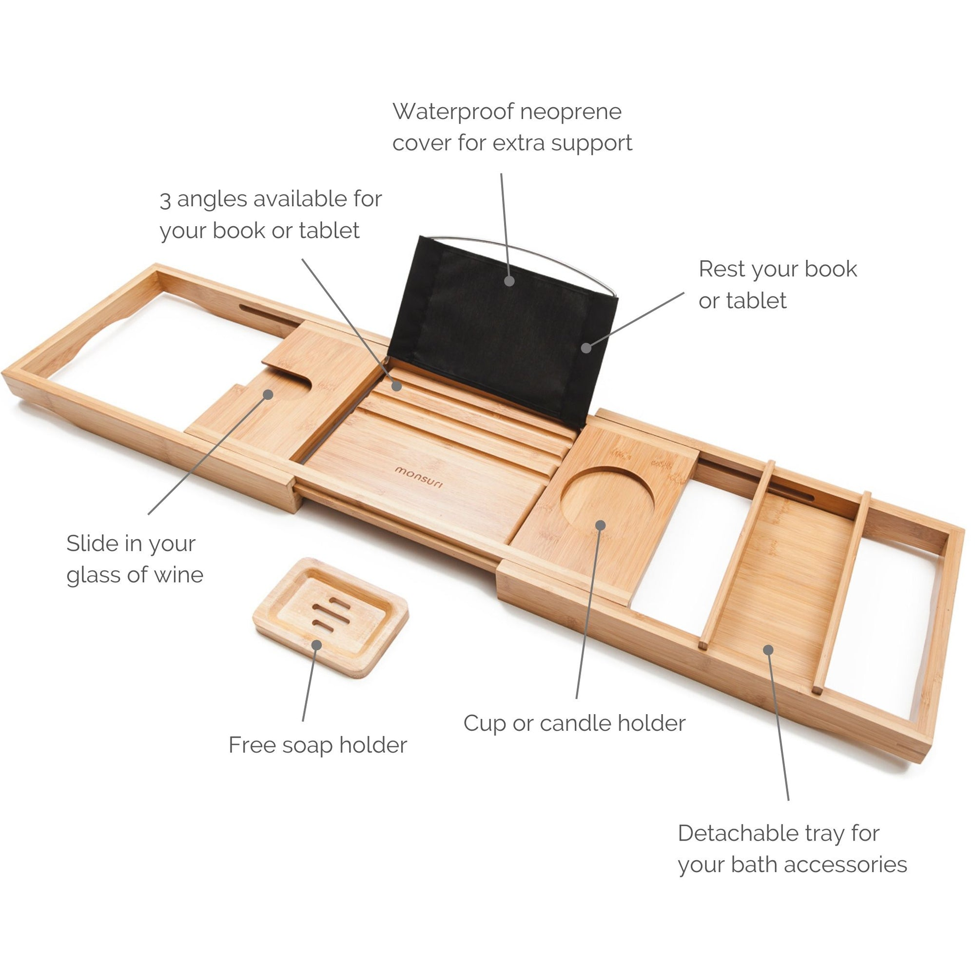 Expandable bamboo bath trays for tub with a book stand, wine glass slot and a bath accessories tray