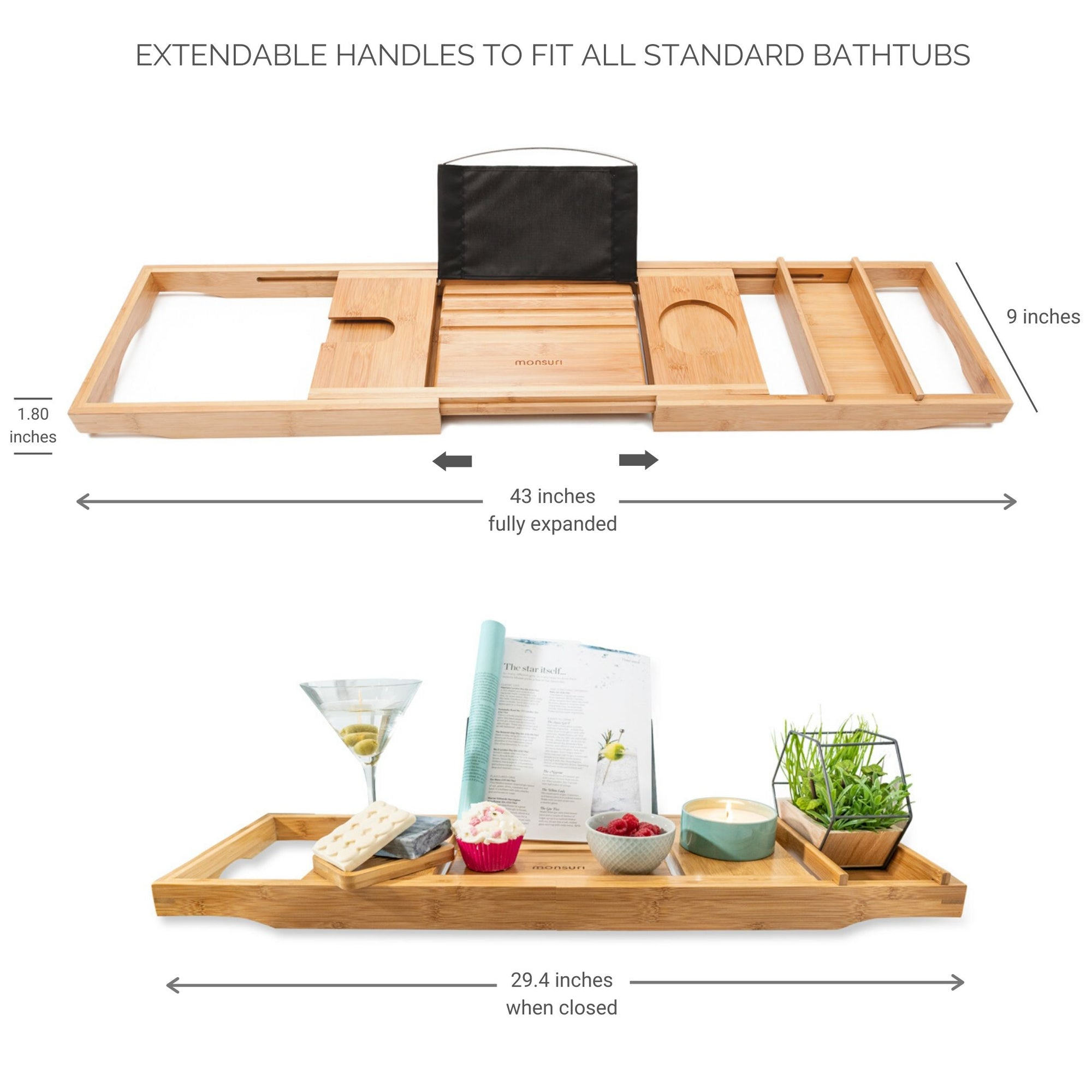 Best expandable bamboo bath-tub tray dimensions in inches