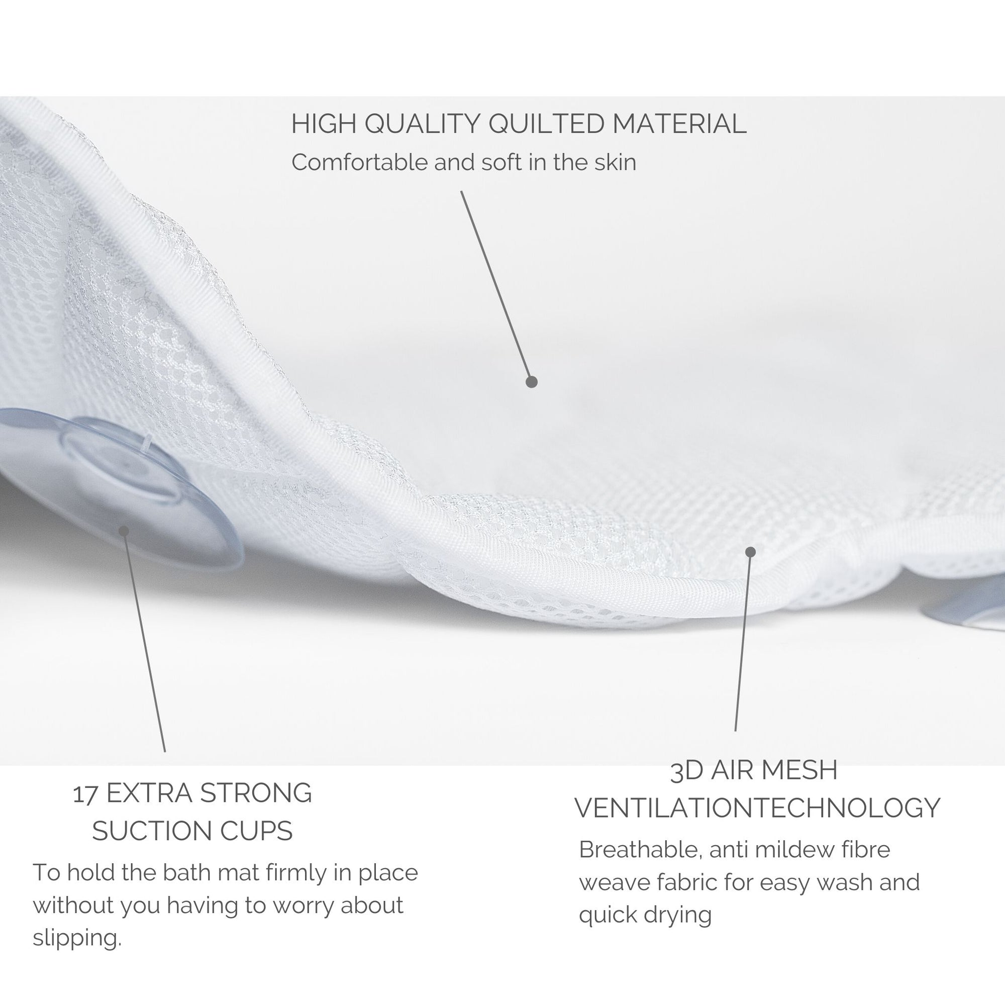 Bath pillow full body length with suction cups | benefits and features