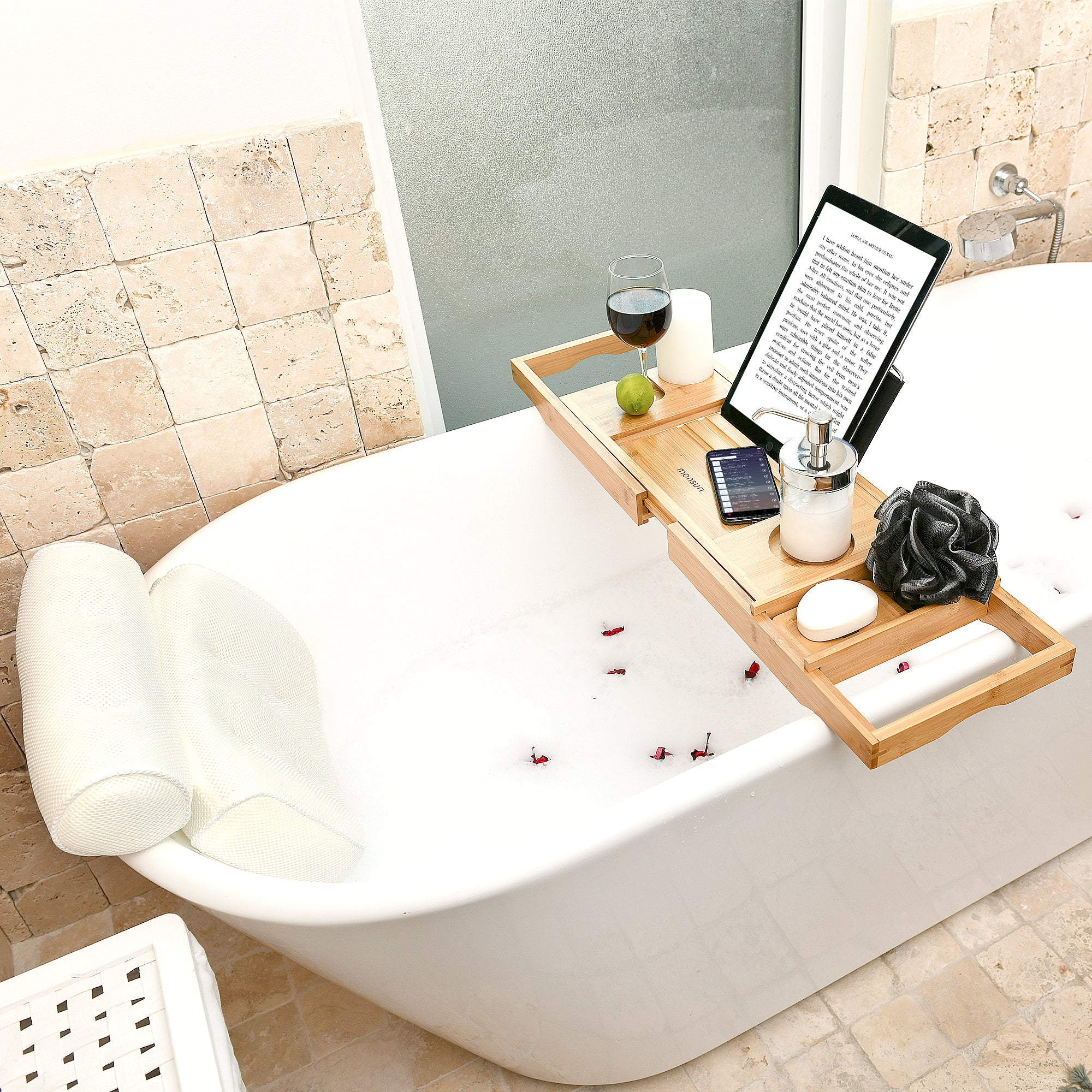 Bubble Bath Accessories - Bathtub Tray and Bath Pillow for an At-Home Spa Experience - Gifts for Women