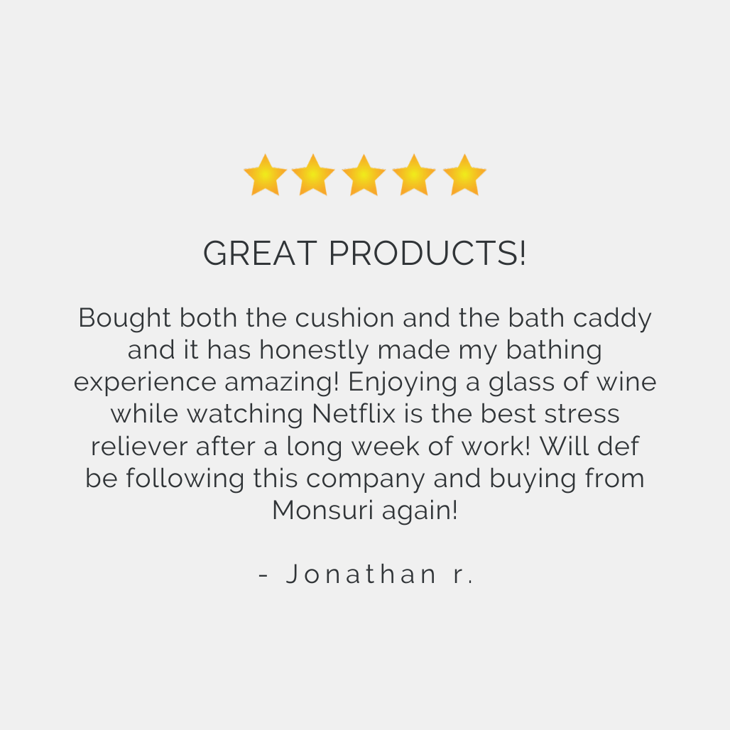 Best Bath Pillow and Bathtub Tray Reviews | Monsuri Review Customer Testimonial 3