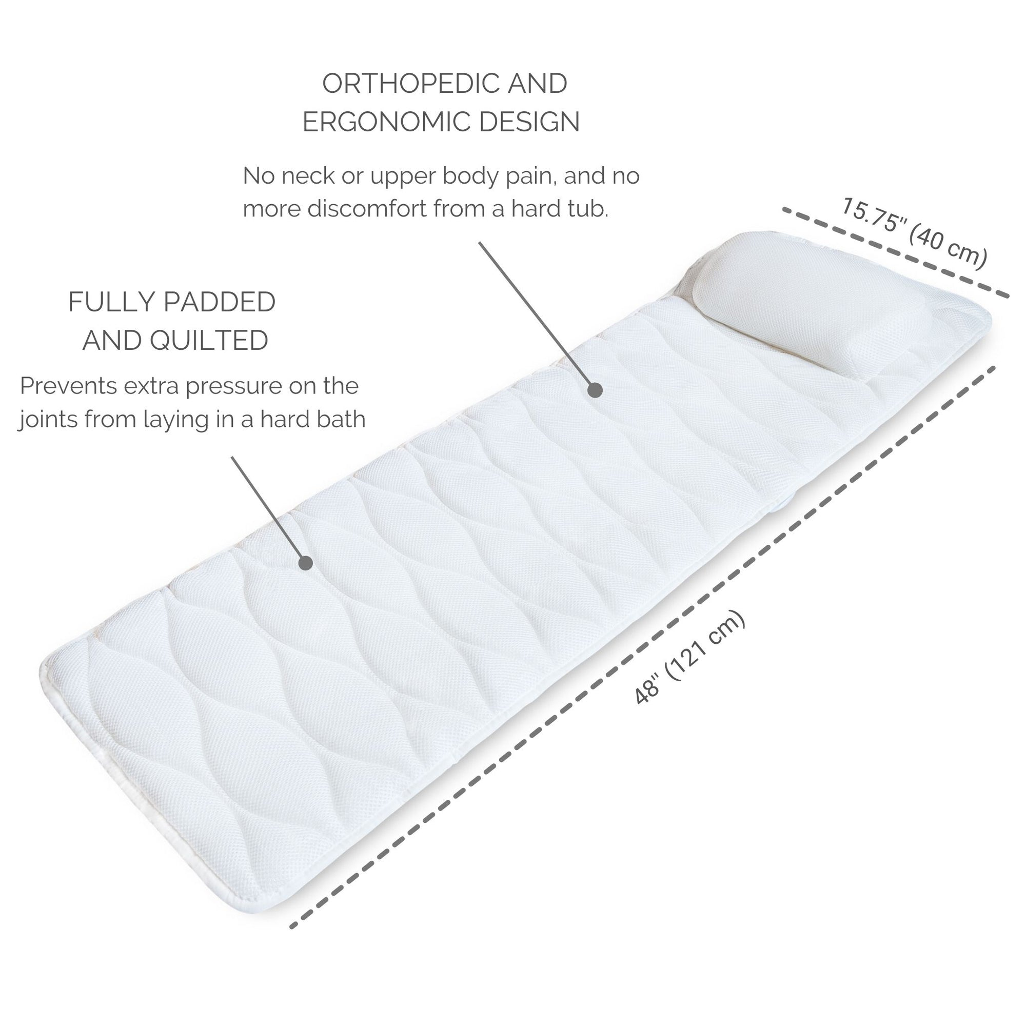 Full body bathtub pillow for tub features and benefits.