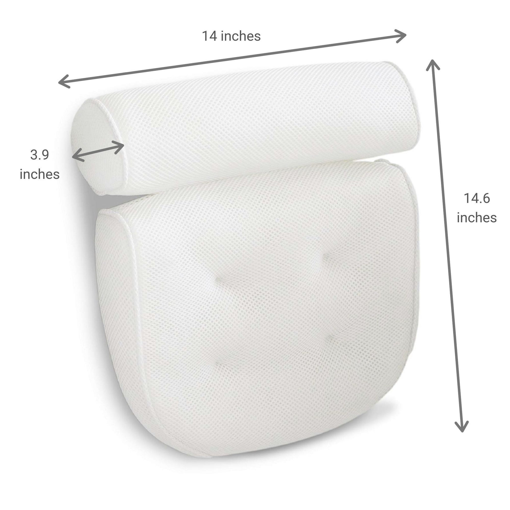 White large bathtub pillow dimensions in inches.