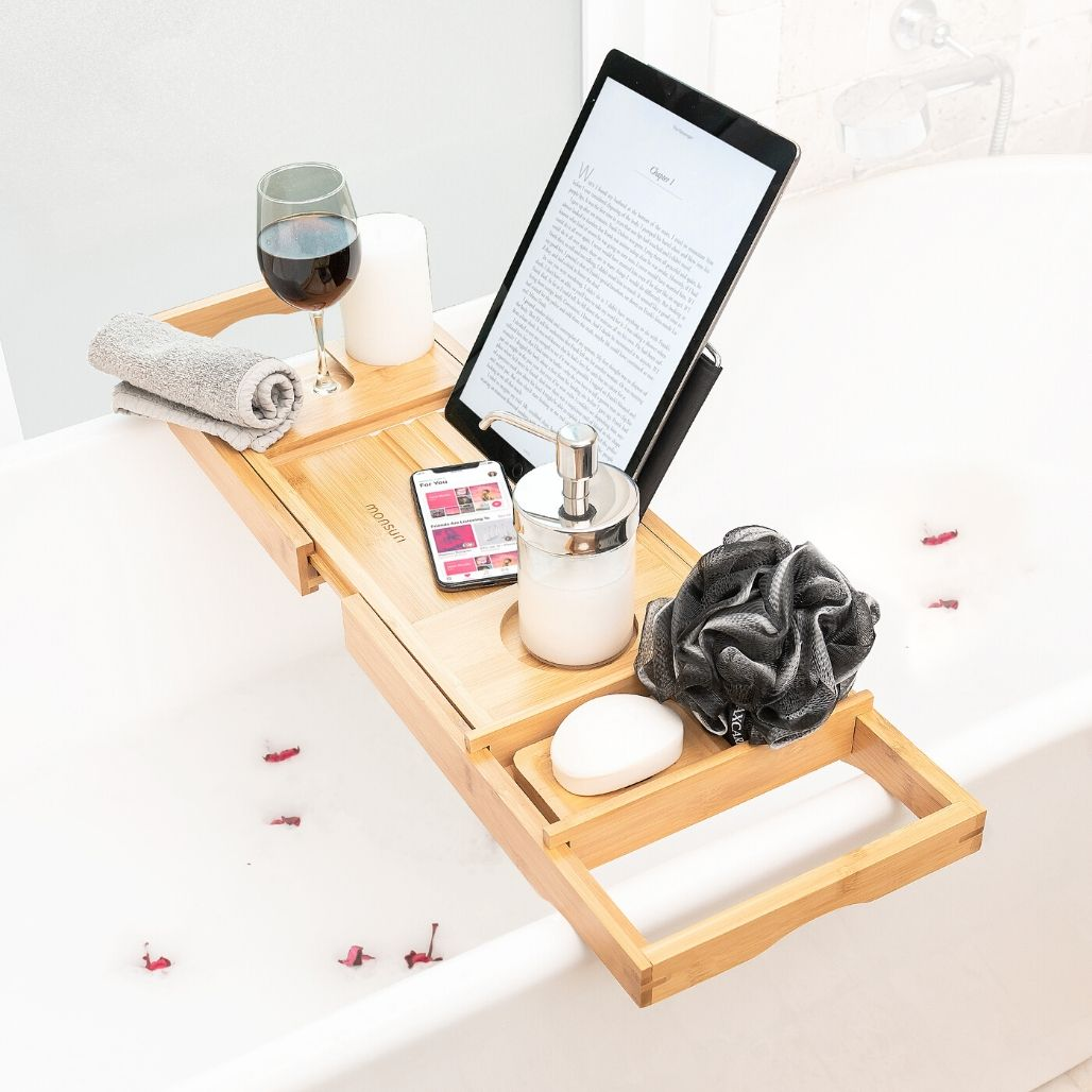 Bamboo Bathtub Tray with Wine Holder, Book Stand and for your other Bath Accessories | Bath GIfts for Women