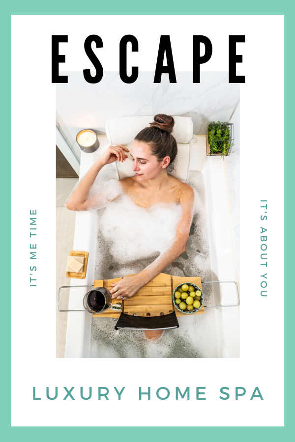 Luxury home spa bubble bath | Bamboo bath tray and bathtub pillow | Gifts for her
