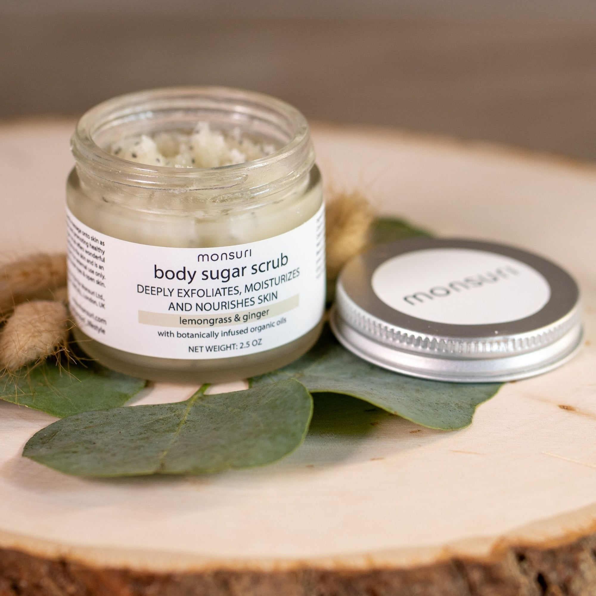Lemongrass & Ginger Organic Sugar Scrub for Body to Exfoliate, Moisturize and for Healthy Skin. Self-Care Gifts for Women and Beauty Product for Mom