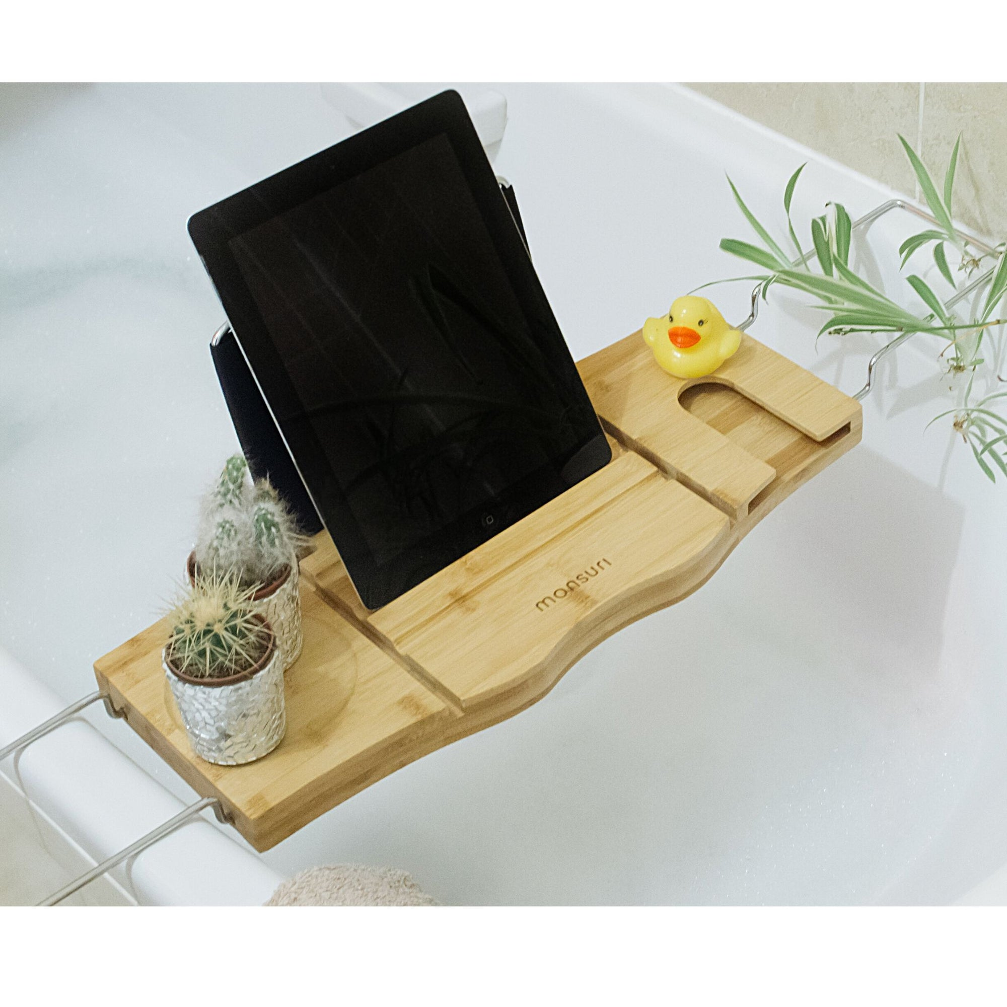 Bamboo bath caddy for tub with book, tablet and wine holder