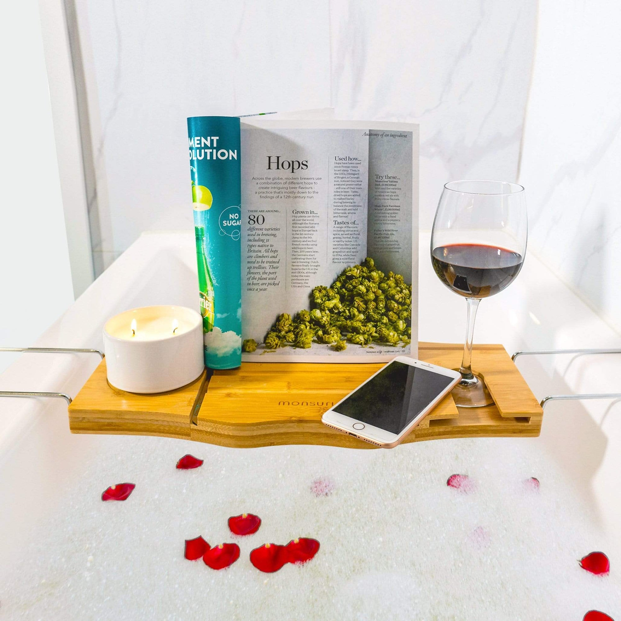 Bathtub tray wood with wine holder and book stand. Luxury bathroom accessories.
