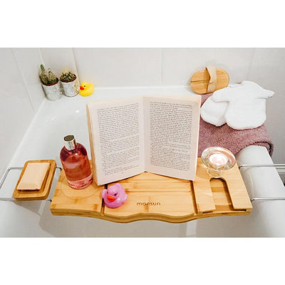 Bath reading tray for bathtub - relaxation gift ideas for self-care.