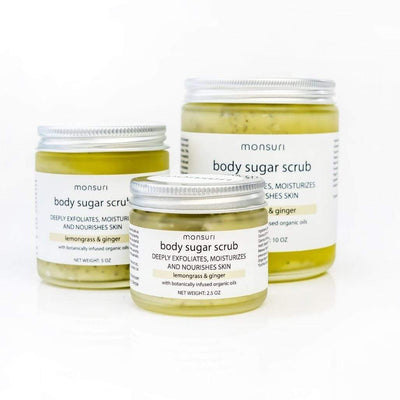 Lemongrass and Ginger Body Sugar Scrub for Women - Skincare Self-Care Ideas