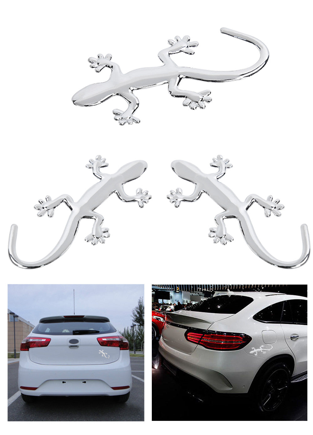 3D Gecko Shape Car Sticker  -  SILVER