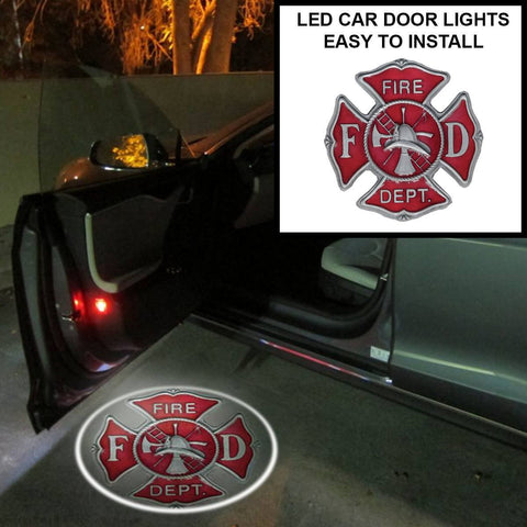 2 FIRE FIGHTER BADGE WIRELESS LED CAR DOOR WELCOME LIGHT