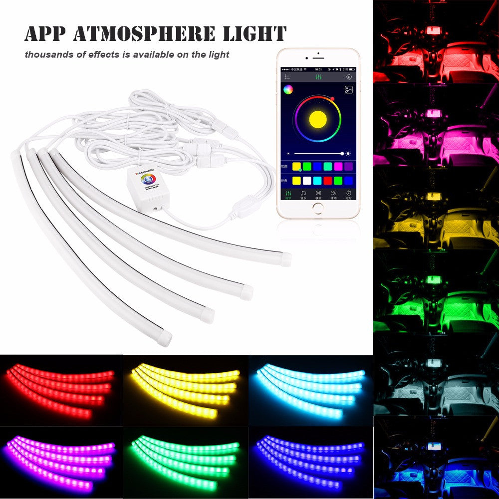 4 In 1 Led Car Interior App Controlled Strip Light Shopzily