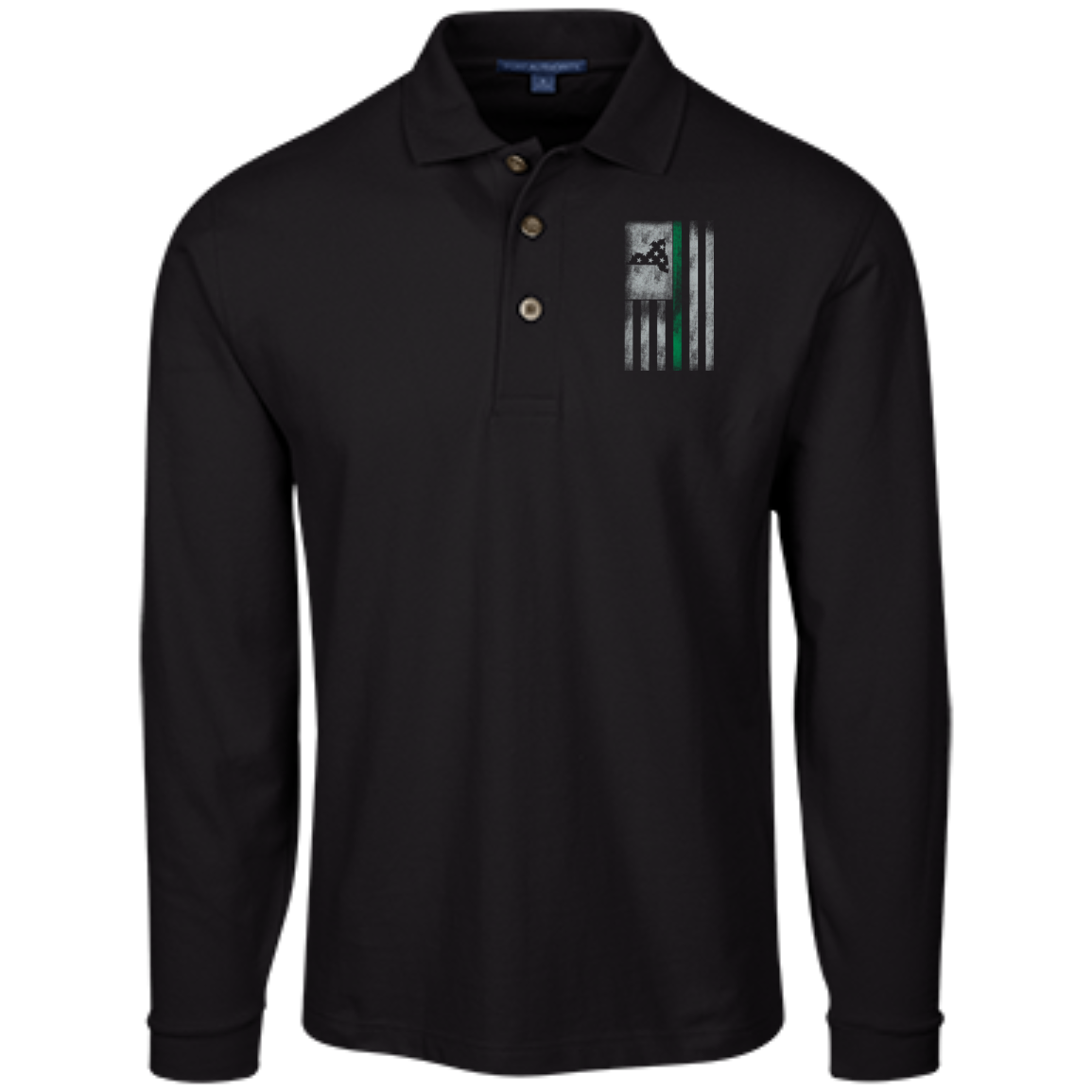 New York Thin Green Line - Long Sleeve Pique Knit Polo