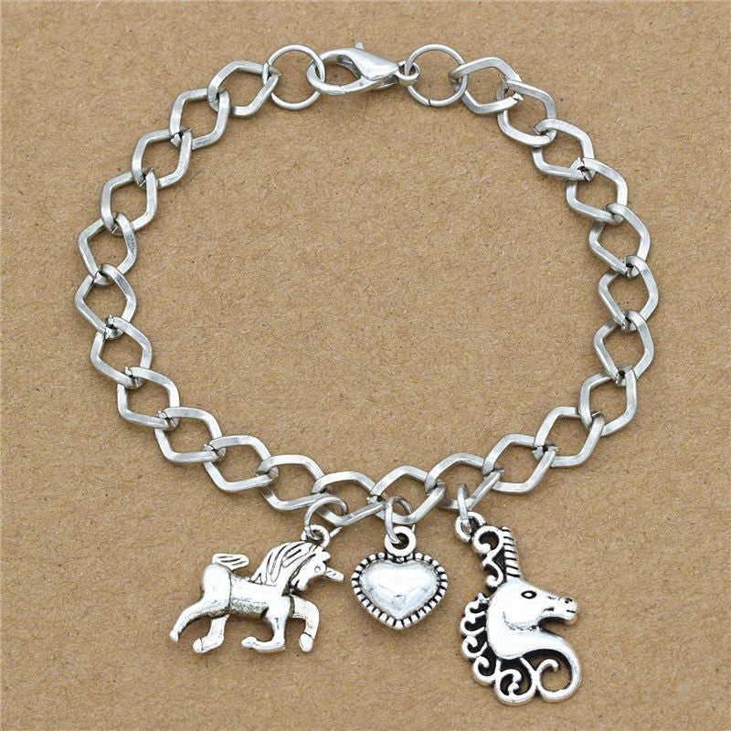 Love Heart Horse Unicorn Head Charm Chain Bracelet Offer