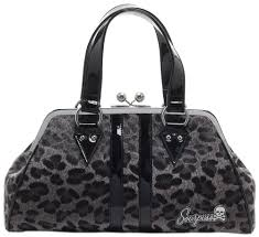 Sourpuss Gray Temptress Leopard Purse