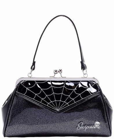Sourpuss Spiderweb Backseat Baby Grey Purse - Forever Tattooed