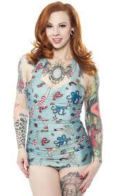Sourpuss Tattooed Divers OnePiece Swimsuit - Forever Tattooed