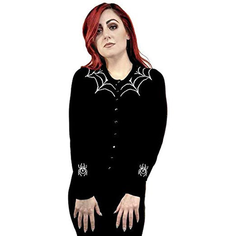 The Tangled Web We Weave Spiderweb Embroidered Cardigan - Forever Tattooed
