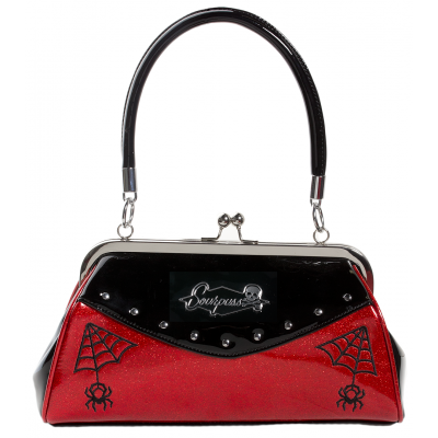 SOURPUSS WEBBED WIDOW PURSE BLACK/RED - Forever Tattooed