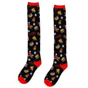 Too Fast Munchies Junk Food & Pot Leaf Novelty Black & Red Knee Socks - Forever Tattooed