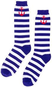 Sourpuss Men's Anchor Stripped Navy/White Socks - Forever Tattooed
