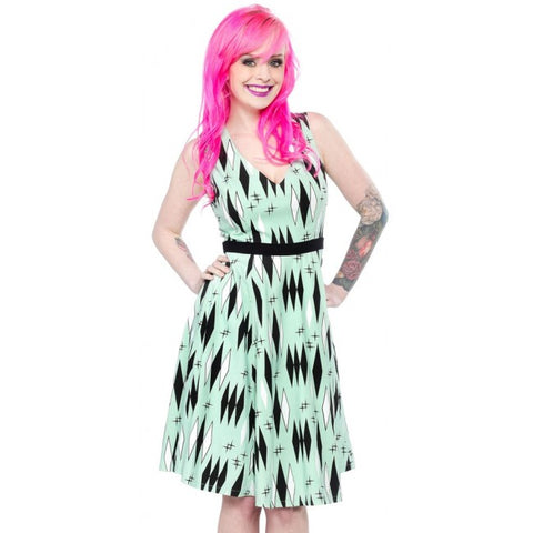 Sourpuss Retro Mint Diamonds Dress - Forever Tattooed
