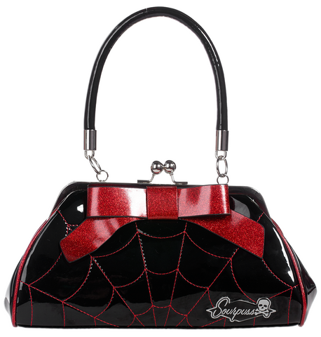 Sourpuss Spiderweb Floozy Purse Blk/ Red - Forever Tattooed