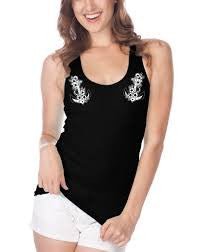 Too fast racey black tank floral anchor - Forever Tattooed