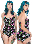 Tropical Dreams Pineapple Skull Retro Pin Up One Piece Swimsuit - Forever Tattooed