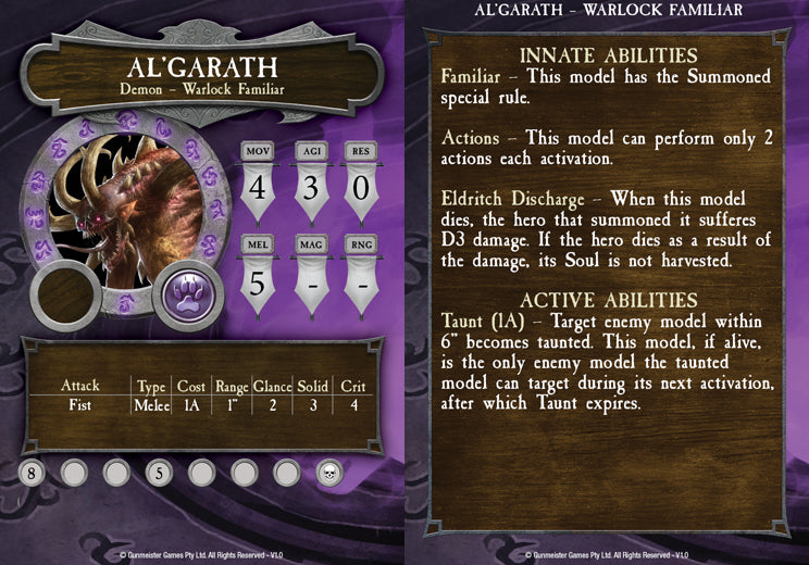 Al'garath's in-game statistics card