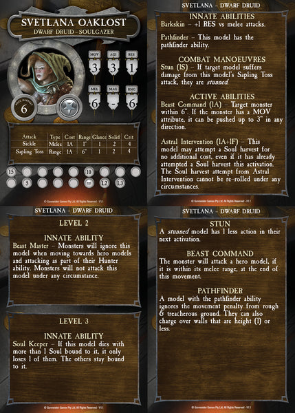 Svetlana Oaklost in-game rules card