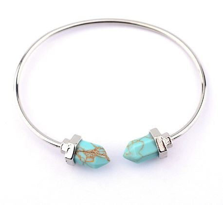 Blue Turquoise Charm Bangle Bracelet
