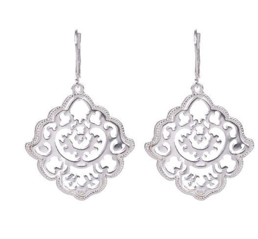 Silver Plated Flower Drop Earrings