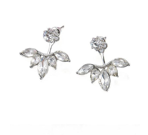 Silver Plated Leave Crystal Earrings