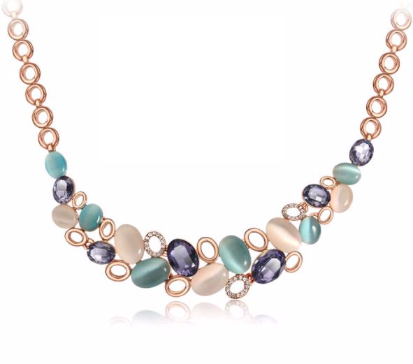 Rose Gold Aquamarine Necklace